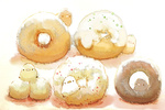 Обои Птички и пончики на белом фоне