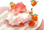 Обои Ягодные птички и клубнично-вишневый десерт
