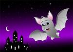 Обои Летучая мышь - вампир в ночном полете над замком