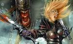 Обои Девушка-воин с мечами в руках на фоне монстра с открытой пастью, из игры Divinity II: Ego Draconis / Divinity 2: Кровь Драконов