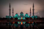 Обои Большая мечеть с подсветкой и ее отражение в воде, фотограф alohalars