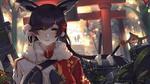 Обои Admiral Hipper Azur Lane японской одежде перед красными воротами тории из игры Kantai Collection: KanColle / Флотская коллекция