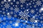 Обои Яркие звезды и белые снежинки на синем фоне