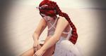 Обои Рыжеволосая девушка с длинной косой сидит на полу в легком одеянии, by Yala Grashnar
