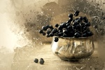 Обои Черный виноград в вазе на размытом фоне, цифровая живопись, by werner22brigitte