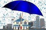Обои Синий зонтик под проливным дождем, с городским пейзажем на заднем плане, векторная графика, автор Gerd Altmann