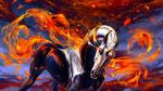 Обои Единорог с огненным хвостом и огненной гривой, by Alaiaorax
