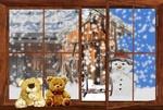 Обои Плюшевые медвежата сидящие на подоконнике, за стеклом снеговик и заброшенный дом под снегопадом, by Gellinger