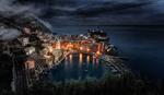 Обои Вид сверху на ночную Liguria, Italy / Лигурия, Италия