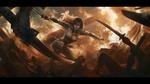 Обои Сражающая девушка-воин с мечами в руках на фоне пожарища