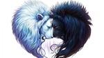 Обои Столкновение лбами двух львов, олицетворяющих день и ночь, by JoJoes Art