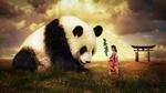 Обои Азиатка в кимоно и огромная панда в поле