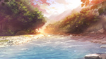 Обои Небольшая речка в солнечных бликах, по берегам которой растут деревья