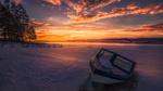 Обои Лодка на берегу замершей реки, Рингерике, Норвегия / Ringerikes, Norway