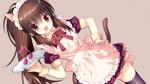 Обои Neko girl / неко-девочка в форме официантки с подносом