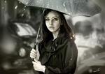 Обои Девушка с зонтом под дождем, by jaychua