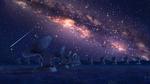 Обои Электротелескопы стоят в траве на фоне ночного неба и млечного пути
