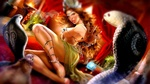 Обои Повелительница змей с кобрами и магическим шаром в будуаре