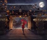 Обои Девушка с красным зонтом стоит у открытых ворот, by Valera Sabe