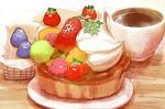 Обои Чашка чая и ягодная пироженка