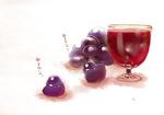 Обои Птички виноградинки и бокал вина