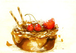 Обои Кусок шоколадного торта, украшенный ягодой клубники и птичками черешенками