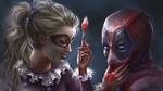 Обои Harley Quinn / Харли Квинн кистью нарисовала улыбку Deadpool / Дэдпулу