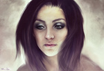 Обои Темноволосая девушка с макияже, by imorawetz