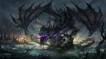 Обои Черный дракон на груде костей в мертвом болоте