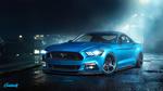 Обои Ford Mustang / Форд Мустанг в ночном тумане