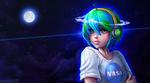 Обои Земля в образе девушки в наушниках и майке (Nasa) на фоне космоса и полной луны, by Amana-HB