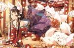 Обои Многохвостая FoxGirl / девочка-лиса в кимоно и маленький лисенок сидят в комнате, из окна виден японский храм среди цветущей сакуры