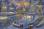 Обои Деревня зимой вечером в рождество by Thomas Kinkade