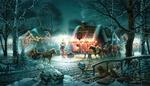 Обои Дома в деревне наряжены гирляндами к рождеству. Лошади катают детей. by Thomas Kinkade