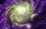 Обои Планеты на фоне звездной туманности в космосе