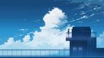 Обои Силуэт девочки, стоящей на крыше здания, на фоне облачного неба, by K. Hati