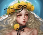 Обои Девушка с венком на голове и розой на шее, by renaillusion