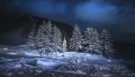 Обои Небольшая церквушка в холодную зимнюю ночь, фотограф Croosterpix