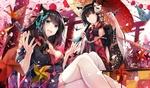 Обои Две neko girls в кимоно среди бумажных журавликов, вертушек и фонариков у красных ворот торий, by Azur Lane