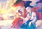 Обои Парень с ушками сидит рядом с белым демоном-лисом у храма на фоне закатного неба, девочка несет напиток