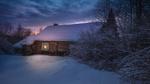 Обои Деревянный дом, заметенный снегом под вечерним небом