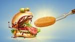 Обои Монстр бургер хочет съесть котлету