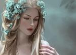 Обои Портрет девушки с голубыми цветами на волосах, by Tpiola