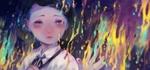 Обои Девочка за стеклом, по кторому стекают разноцветные капли от дождя