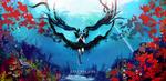 Обои Vocaloid Miku Hatsune / Вокалоид Мику Хацунэ под водой среди рыб и водной растительности (Deep sea girl / Глубоководная девушка), by Arcan-Anzas