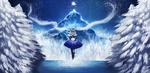 Обои Vocaloid Yuki Miku / Вокалоид Юки Мику среди заснеженных сосен на фоне горы и ночного неба (Happy Winter / Счастливой Зимы), by Arcan-Anzas