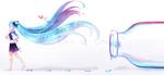 Обои Vocaloid Miku Hatsune / Вокалоид Мику Хацунэ с рыбками в волосах идет от бутылки оставляя водяные следы на белом фоне (Let it go / Отпусти это), by sowelunee
