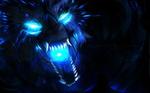Обои Разъяренный мистический волк, горящий сине-голубым пламенем