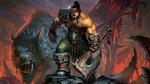Обои Орк-воин с топором и скальпом в руках стоит с волком-монстром на фоне пожарища, из игры World of Warcraft / Мир военного ремесла