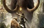 Обои Воин, с горящим копьем в руке, стоит рядом с саблезубым тигром и преграждает путь мамонту, из игры Far Cry Primal